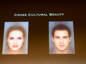 comparativo das faces feminina e masculina.